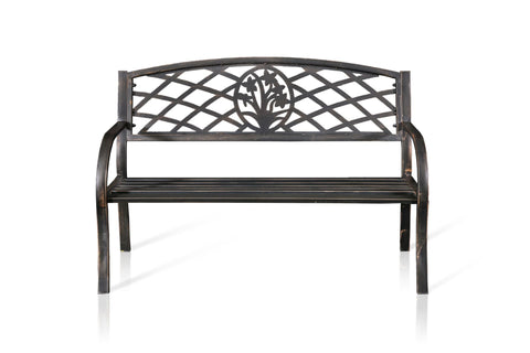 Weyes Lattice Cast Iron Outdoor Bench Powdered Black Furniture Enitial Lab