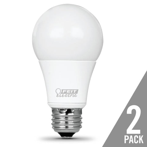 LED A19 40W Equiv., 450 Lumens, 25000 Life Hours, 3000K, 2 PK Bulbs Feit Electric