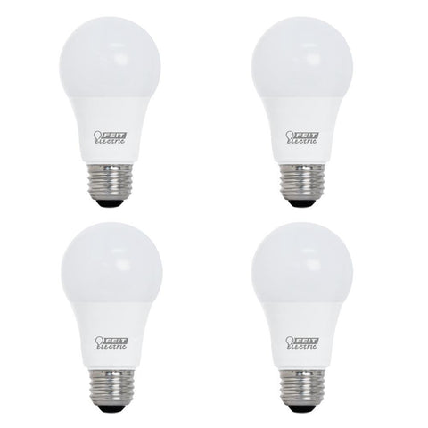 LED A19 40W Equiv., 450 Lumens, 25000 Life Hours, 3000K, 4PK Bulbs Feit Electric