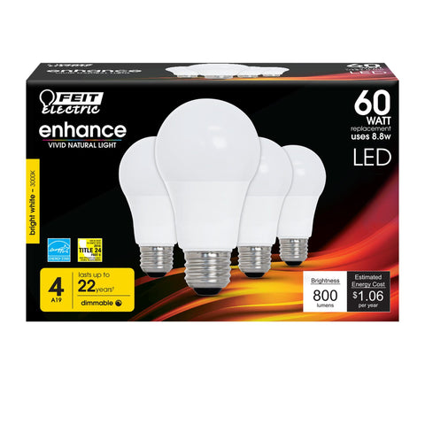 LED A19 60W Equiv., 800 Lumens, Dimmable, 3000K, 4 PK Bulbs Feit Electric