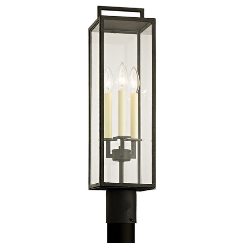 Beckham 3 Light Post - Forged Iron Outdoor Troy