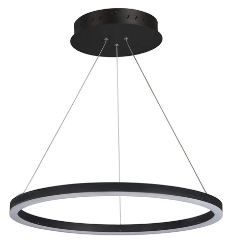 "Tania 24"" LED Ring Suspension Pendant Chandelier - Black Ceiling Vonn Black"
