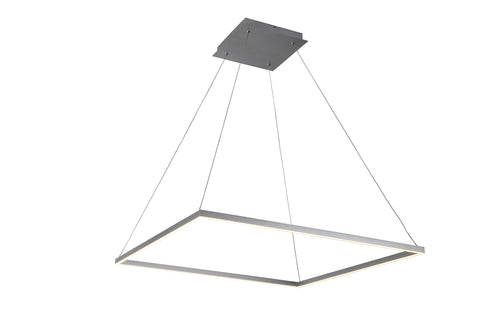 "Atria 39""w LED Adjustable Suspension Square Chandelier - Silver"