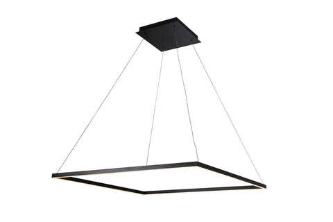 "Atria 39""w LED Adjustable Suspension Square Chandelier - Black Ceiling Vonn"
