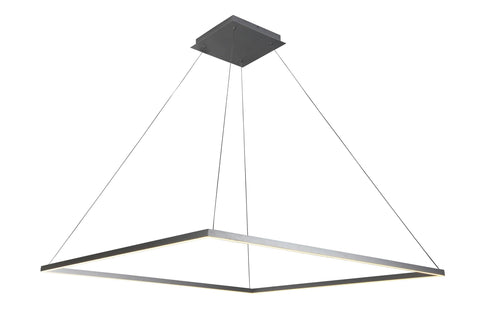 "Atria 51""w LED Adjustable Suspension Square Chandelier - Silver Ceiling Vonn"