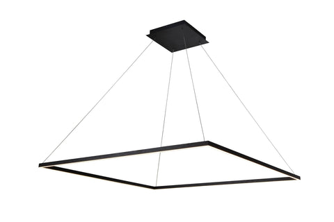 "Atria 51""w LED Adjustable Suspension Square Chandelier - Black"