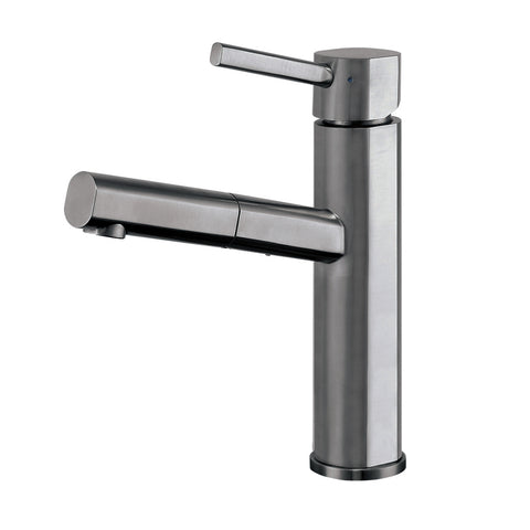 Waterhaus Lead-Free Solid Stainless Steel, Single Hole, Single Lever Kitchen Faucet with Pull-out Spray Head