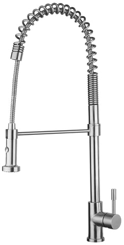 Waterhaus Lead Free, Solid Stainless Steel Commerical Single-Hole Faucet with Flexible Pull Down Spray Head, Swivel Spout Support Bar and Solid Lever Handle