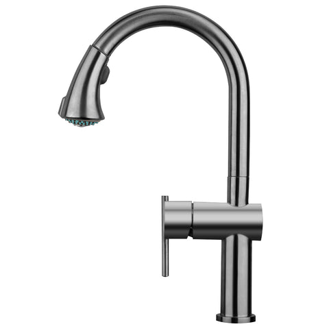 Waterhaus Lead Free Solid Stainless Steel Single-Hole Faucet with Gooseneck Swivel Spout, Pull Down Spray Head and Solid Lever Handle