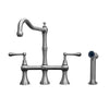 Waterhaus Lead-Free Solid Stainless Steel Bridge Faucet with a Traditional Spout, Lever Handles and Side Spray