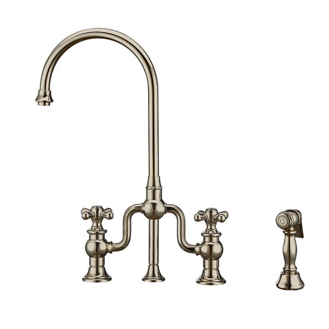 Twisthaus Plus Bridge Faucet with Gooseneck Swivel Spout, Cross Handles and Solid Brass Side Spray