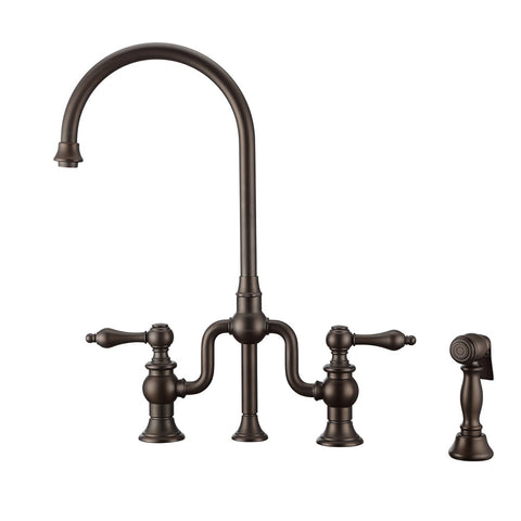 Twisthaus Plus Bridge Faucet with Gooseneck Swivel Spout, Lever Handles and Solid Brass Side Spray