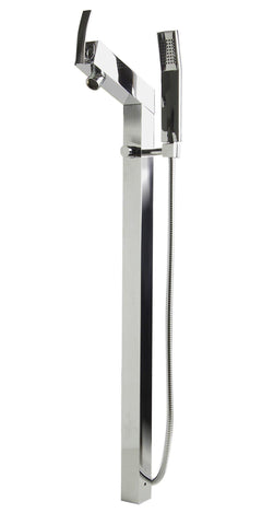 Polished Chrome Floor Mounted Tub Filler + Mixer /w additional Hand Held Shower Head Faucets Alfi