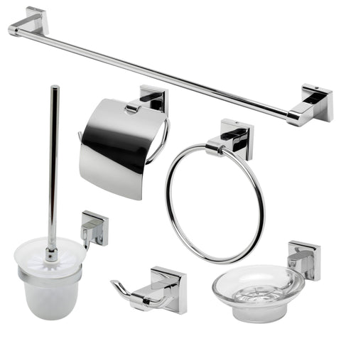 Polished Chrome 6 Piece Matching Bathroom Accessory Set Accessories Alfi