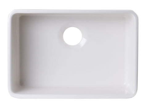 24 inch Biscuit Single Bowl Fireclay Undermount Kitchen Sink