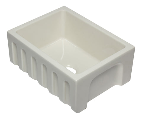 24 inch Biscuit Reversible Smooth / Fluted Single Bowl Fireclay Farm Sink Sink Alfi