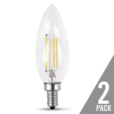 Filament LED, 60 Watt Equiv., Dimmable, Torpedo Tip, Candelabra Base, Clear, Decorative Bulb, 500 Lumen, 2700K, 2 Pk Bulbs Feit Electric