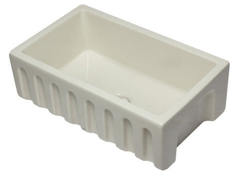 30 inch Biscuit Reversible Smooth / Fluted Single Bowl Fireclay Farm Sink Sink Alfi