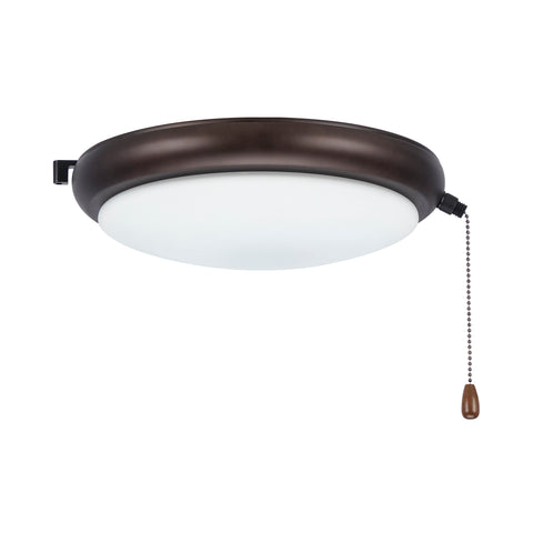 kathy ireland HOME by Luminance Brands Luna LED Light Kit for Ceiling Fans | Low Profile Lighting Attachment with White Opal Glass Shade and Pull Chain | Wet Rated, Oil Rubbed Bronze