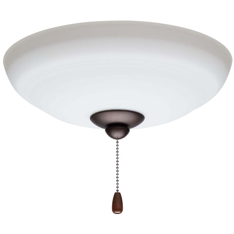 kathy ireland HOME by Luminance Brands Ashland Opal Matte Ceiling Fan Light Kit | Glass Shade Attachment with Finial, Pull Chain, and 3 LED Bulbs, Oil Rubbed Bronze