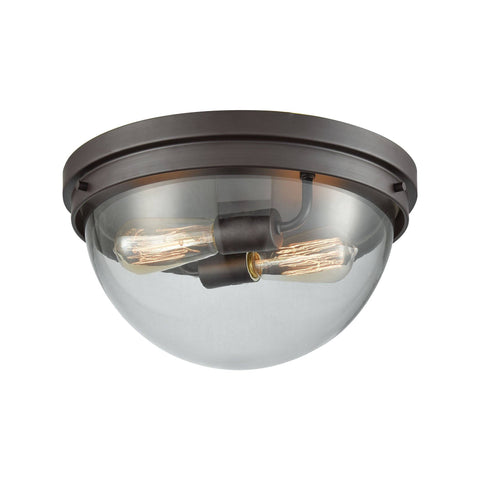 Beckett 2-Light Flush Mount in Oil Rubbed Bronze with Clear Glass Ceiling Thomas Lighting