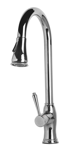 Traditional Solid Polished Stainless Steel Pull Down Kitchen Faucet