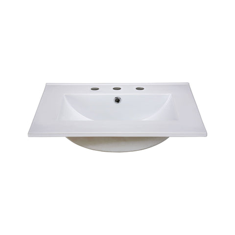 Ceramic Top - 25-inch Vitreous China with Rectangular Bowl - White (for 8-inch Widespread Faucet) Sink Ryvyr