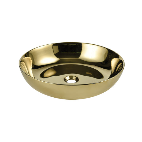 "19"" Round, Ceramic Vessel Sink - Polished Gold"