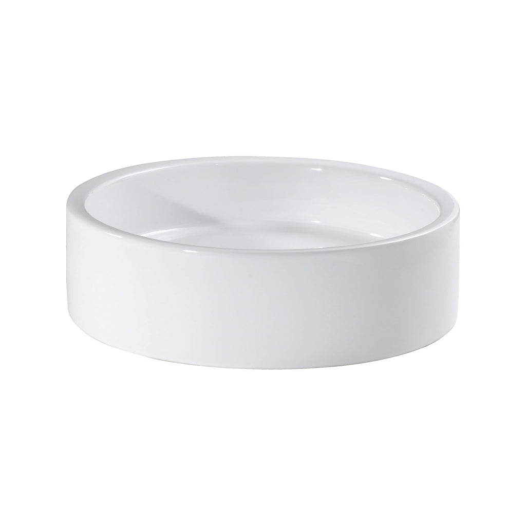 19-inch Cylinder Vitreous China Vessel - White