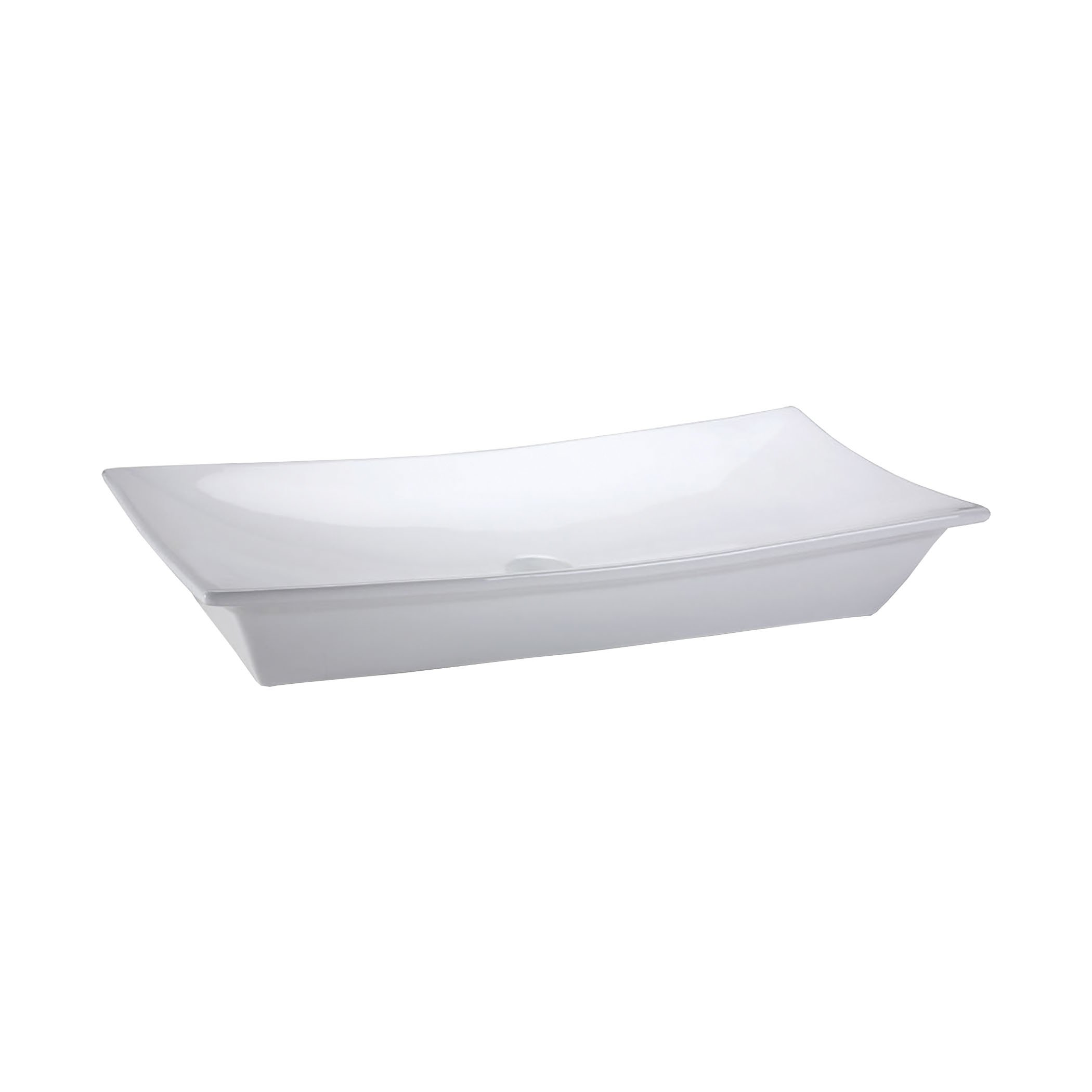 Rectangular vitreous china vessel sink with single-hole faucet drilling Sink Ryvyr