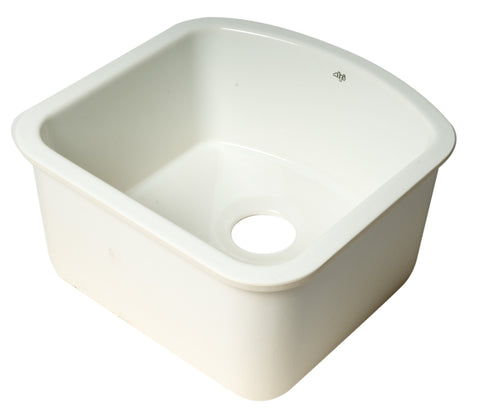 "17"" White Fireclay Undermount D-Shaped Kitchen Sink"