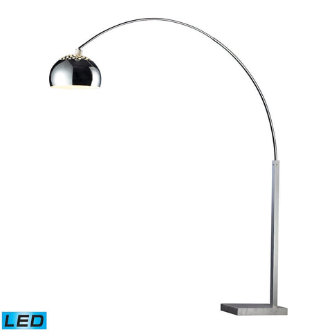 Penbrook LED Arc Floor Lamp In Chrome With White Marble Base Lamps Dimond Lighting