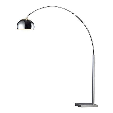Penbrook Arc Floor Lamp In Chrome With White Marble Base Lamps Dimond Lighting