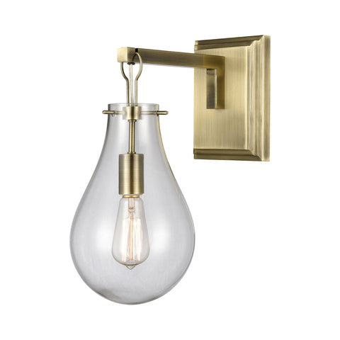 Brass Tear Wall Sconce in Antique Brass and Clear