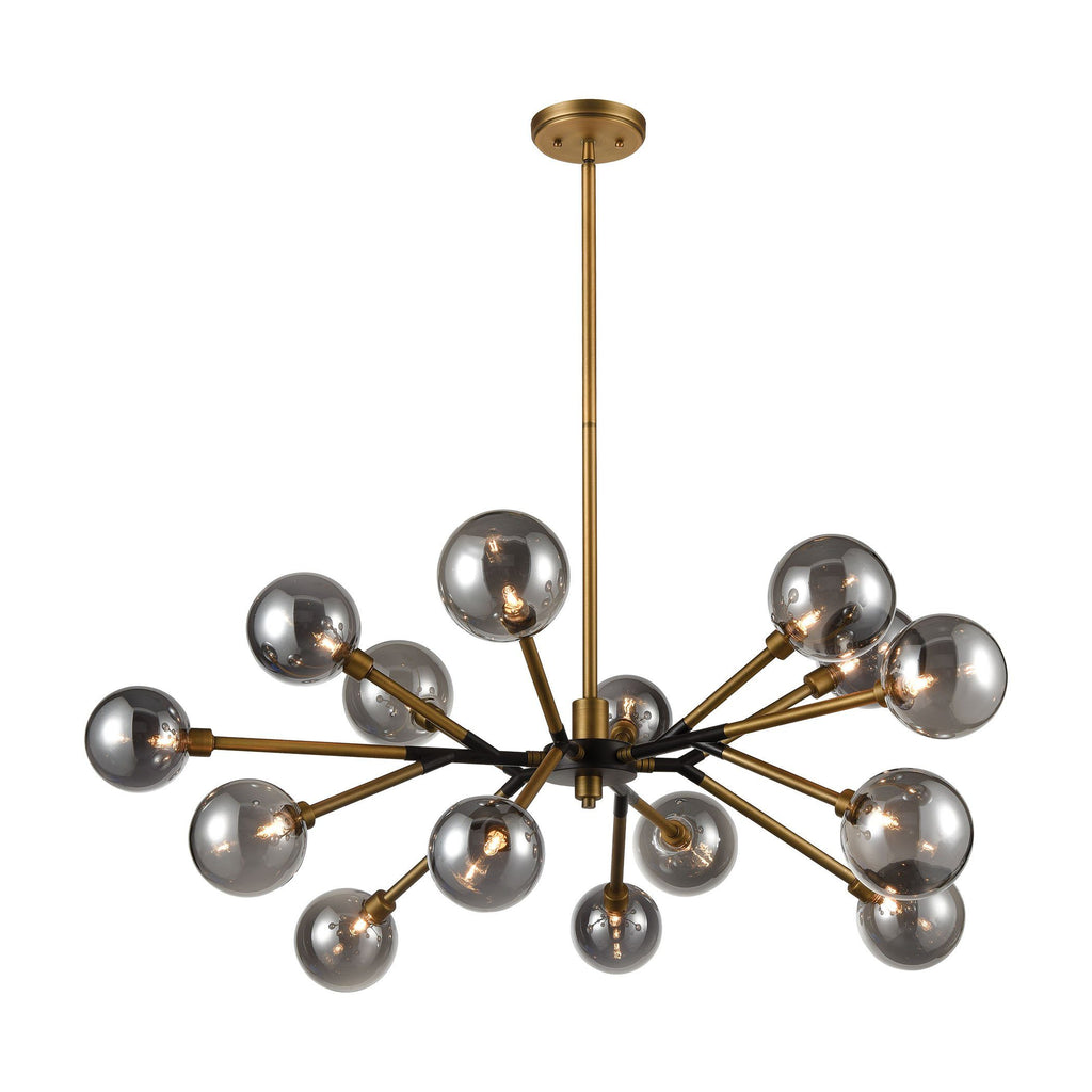 Starting Point 15-Light Chandelier in Aged Brass and Matte Black Ceiling ELK Home