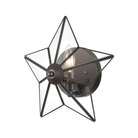 Moravian Star 1-Light Wall Sconce in Oil Rubbed Bronze with Clear Glass - Large