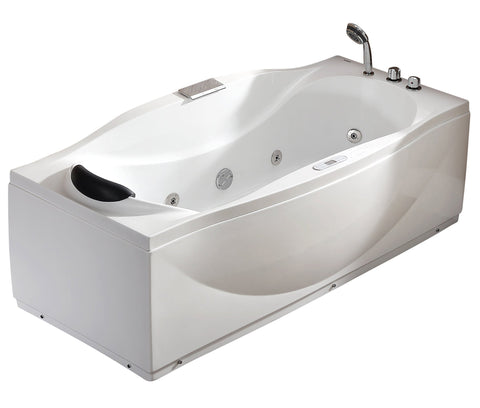 6 ft Right Drain Acrylic White Whirlpool Bathtub w Fixtures