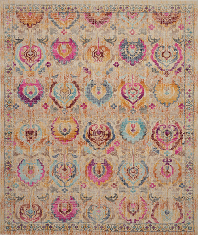 "Vintage Kashan Ivory Multicolor Persian Area Rug - 9 Size and Shape Options Rugs Nourison 7'10"" x 9'10"""