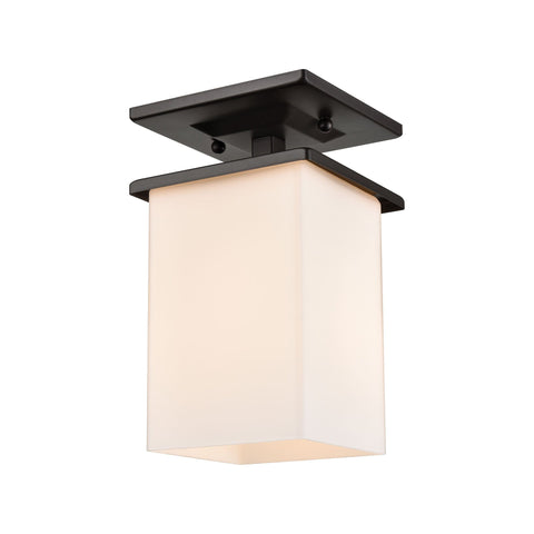 Broad Street 1-Light Exterior Flush Mount in Textured Black  Thomas Lighting