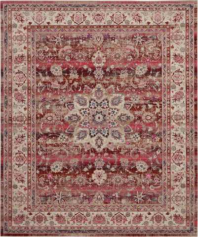 Vintage Kashan Burgundy Multicolor Oushak Area Rug - 9 Size and Shape Options