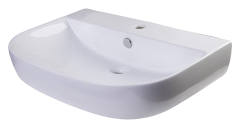 "28"" White D-Bowl Porcelain Wall Mounted Bath Sink"