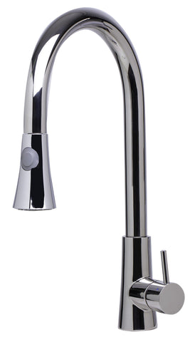 Solid Polished Stainless Steel Pull Down Single Hole Kitchen Faucet