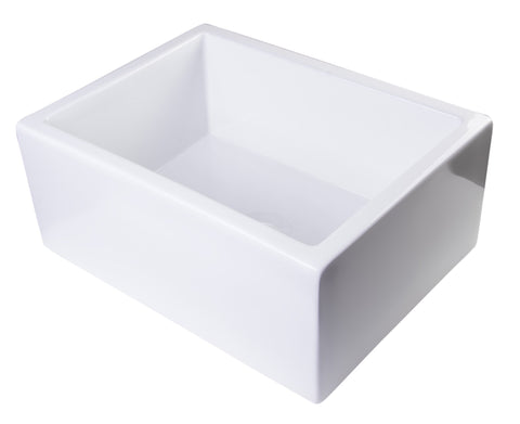"24"" White Smooth Thick Wall Fireclay Single Bowl Farm Sink Sink Alfi"