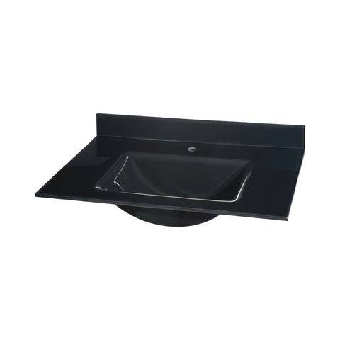 Glass Top - 25-inch with Rectangular Bowl - Black Sink Ryvyr