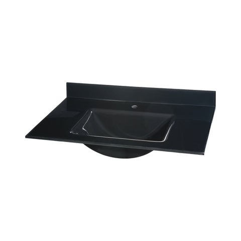 Glass Top - 31-inch with Rectangular Bowl - Black Sink Ryvyr