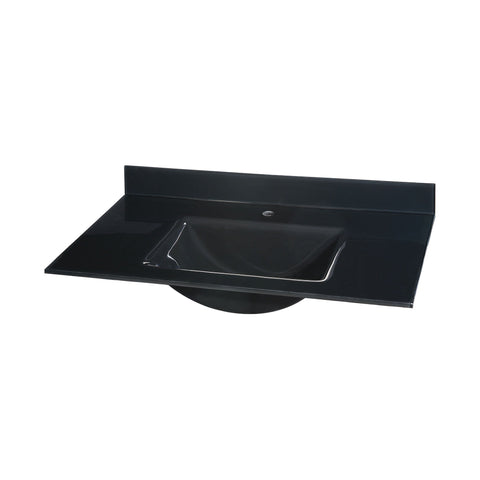 Glass Top - 37-inch with Rectangular Bowl - Black Sink Ryvyr