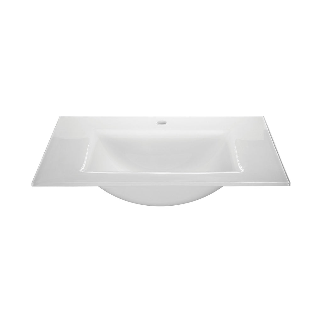 Glass Top - 610mm (24-inch) with Rectangular Bowl - White