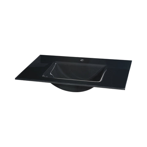 Glass Top - 810mm (31.9-inch) with Rectangular Bowl - Black Sink Ryvyr