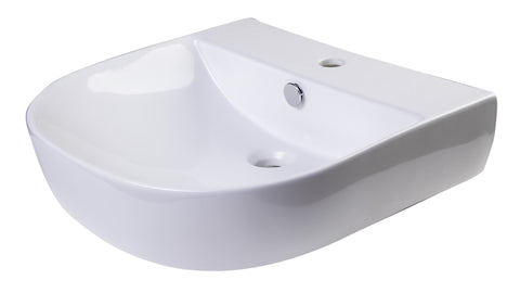"20"" White D-Bowl Porcelain Wall Mounted Bath Sink Sink Alfi"
