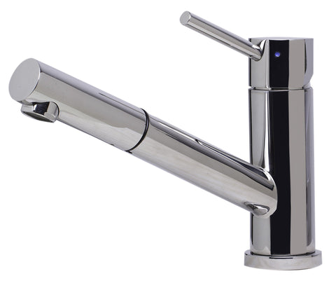 Solid Polished Stainless Steel Pull Out Single Hole Kitchen Faucet